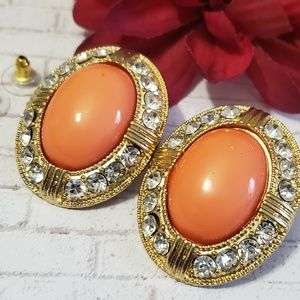 Coral & Gold Crystal Statement Earring